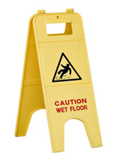 Isolated yellow wet floor sign with text