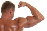 An oiled bodybuilde flexing his bicep for show poster