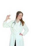 Young woman doctor holding injection poster