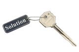 Key with label Solution, isolated on white background poster