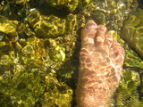 foot in river
