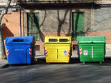 Rubbish Containers to separate recyclable materials poster