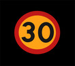 red and yelllow 30 traffic speed limit sign