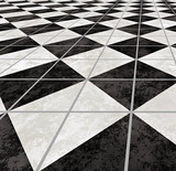 checkered marble floor going off into the distance poster