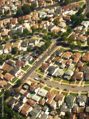 Aerial of Suburban Landscape, Los Angeles, California