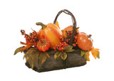A colorful Thanksgiving holiday basket over white poster