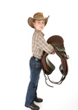 A young horse rider holding a saddle. - side view poster