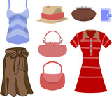selection of clothes and fashion accessories poster