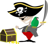 A pirate with a parrot and chest of treasure poster