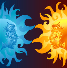 opposing faces
