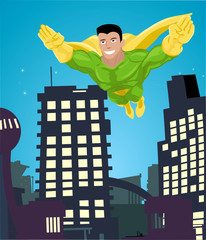 super hero flying over a city