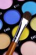 A make-up multi colored palette close up.