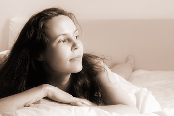 Morning girl-4(soft focused+sepia toned version)