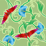 Butterfly and flower oriental tileable seamless background.  poster