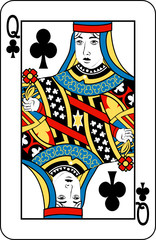 Queen of clubs from deck of playing cards