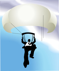 Parachuting business man