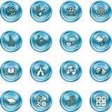 Academic study subject icons poster