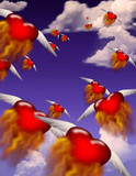Winged burning hearts fly toward an unknown destination poster