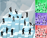 Conceptual piece. Business people building with blocks poster