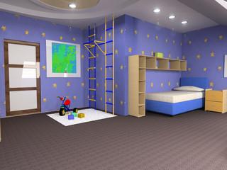 childroom modern design in loft apartment (3D image)