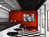 Fototapety Interior of fashionable bar with cafeteria chairs