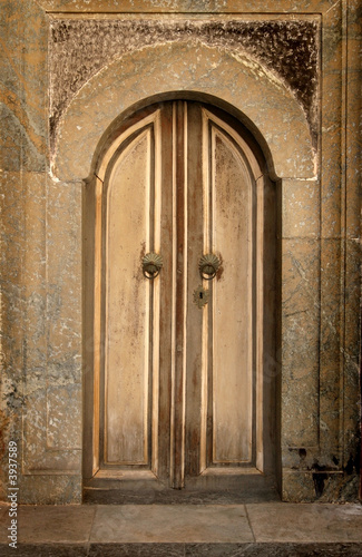 old wooden door in bulgarian Rila  monastery