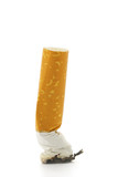 Cigarette stub isolated over a white background poster