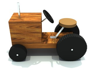 toy tractor from wood and with wheel from rubber