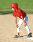 child getting ready to steal a base poster