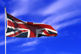 British union flag with blue sky poster