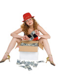 The women and a box with moneyAjnjuhfa poster