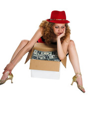 The girl and a box with moneyAjnjuhfa