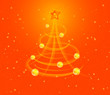 Christmas background with stylized tree and baubles, vector