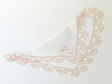 pink laced handkertchief with monogram poster