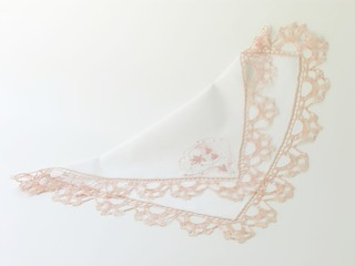 pink laced handkertchief with monogram