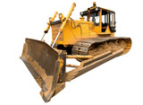 The heavy dirty building bulldozer of yellow color poster