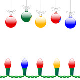 Merry Christmas Ornaments & Light String poster