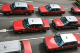 Fototapety Red taxis in hong kong