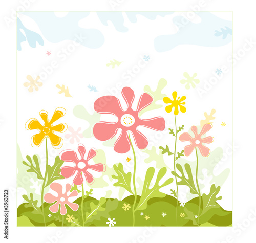 Background of spring flowers with leafs,  vector illustration