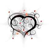 Abstract valentines ornament with hearts and blots, vector poster
