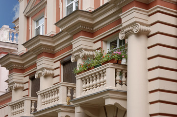 Facade of the house with balconies