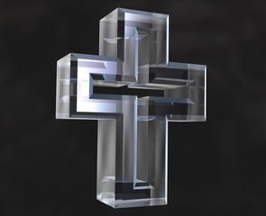 simbolo croce in vetro trasparente - glass cross symbol