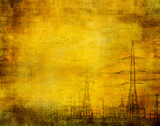 high voltage, industrial grunge background poster
