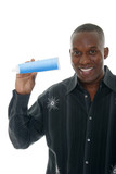 Man Holding Toothpaste Tube poster