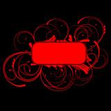 Red Curves Banner On Black Background. Art Deco. poster