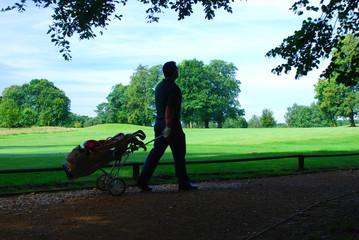 Walking golfer
