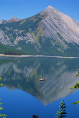 canadian mountain lake with boat