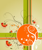 Grunge paint flower background with blots, vector illustration poster