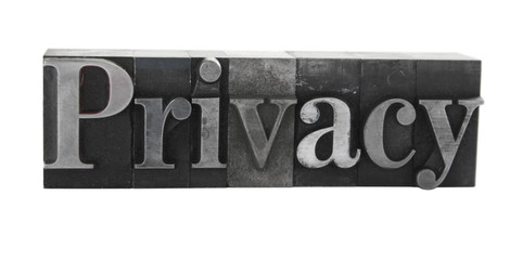 the word 'privacy' in old, inkstained metal type