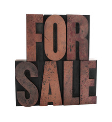 the term 'for sale in old letterpress wood letters